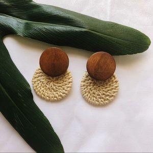 Natural Wicker & Wooden Bead Earrings 🥥